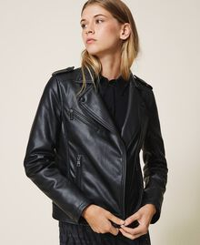 Faux leather biker jacket Black Woman 202MP2090-01