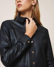 Faux leather shirt dress Black Woman 202LI2GEE-04
