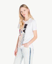 T-Shirt mit Pailletten Zweifarbig Optisches Weiß / Rosé-Organza Frau YS823H-02