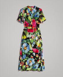 Robe longue de georgette à imprimé floral Gros Imprimé Fleur Noir Femme 191TT2481-0S