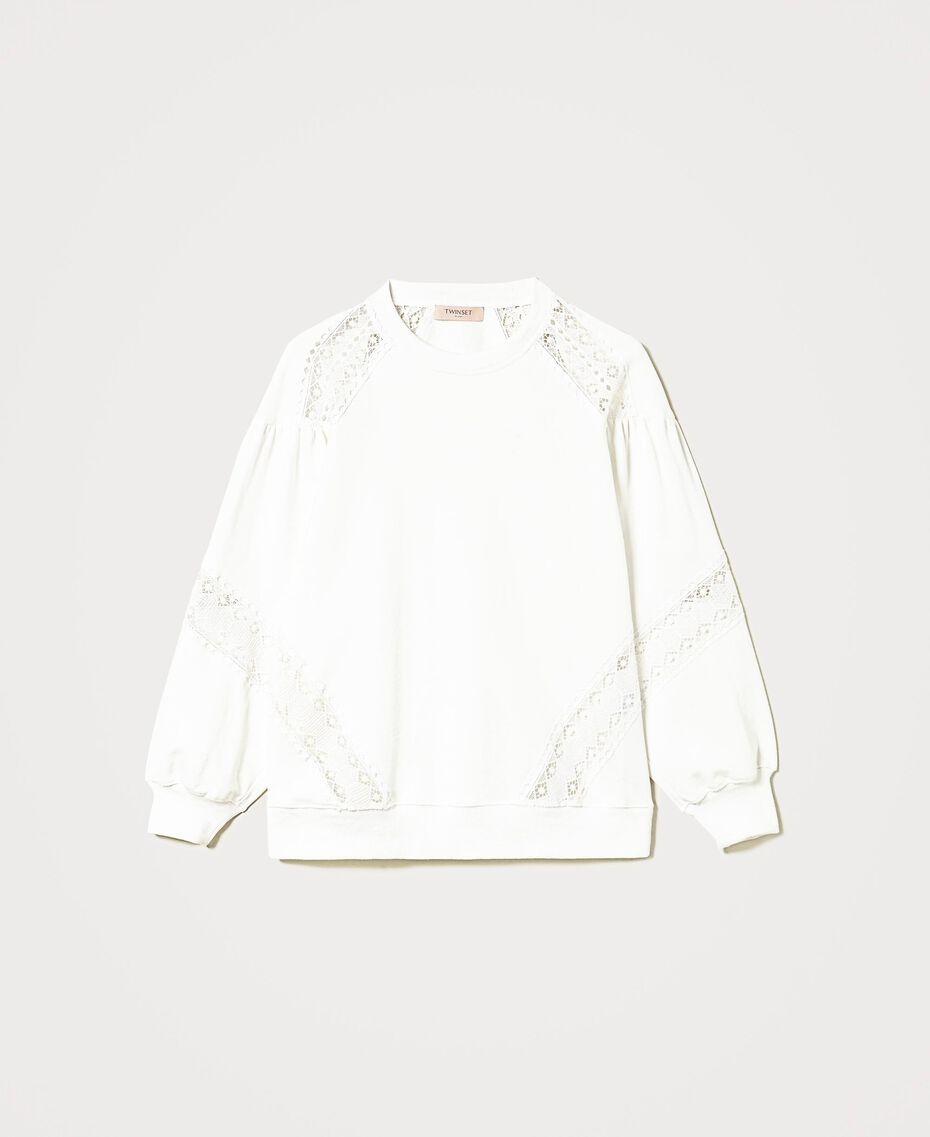 Sweatshirt mit Spitzenintarsien Sahne Frau 211TT2280-0S