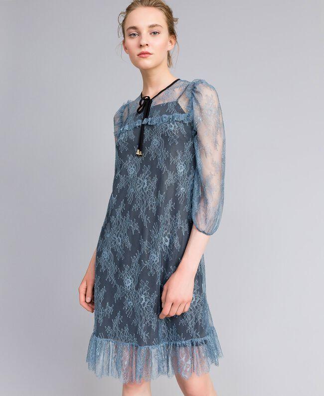 Vestido de encaje de Valenciennes Polvo azul Mujer PA82F1-01