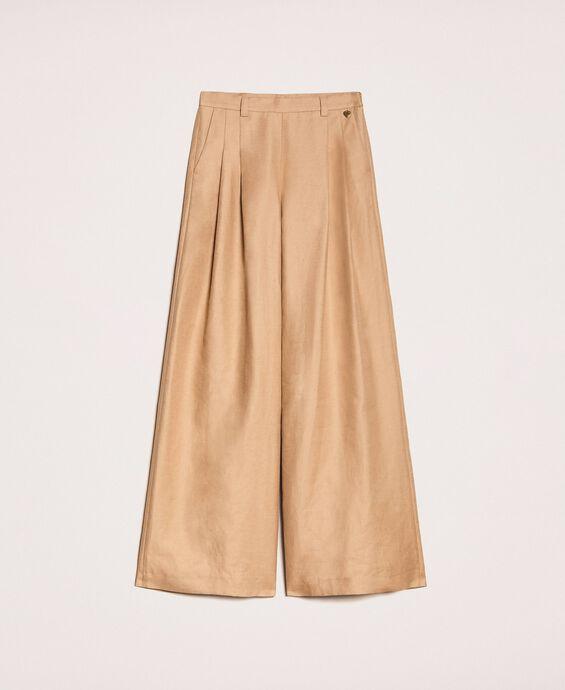 Linen blend wide trousers