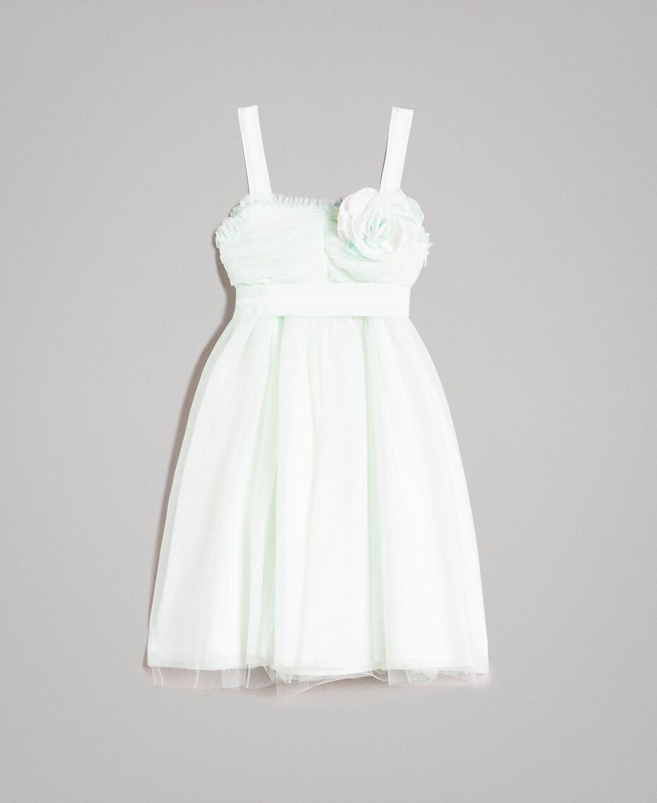 """Tulle dress with flower-shaped brooch Blue Clear """"Water"""" Child 191GJ2QM0-01"""