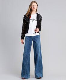 Jean large en denim Bleu Denim Femme JA82Q4-0T