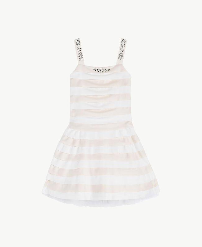 Kleid mit Strass Zweifarbig Chantilly / Papyrusweiß Kind GS8LBA-01