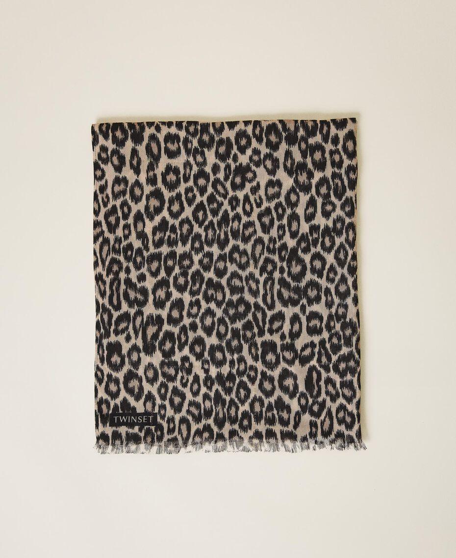 Schal mit Animalprint Animalprint Walnuss / Tabak Frau 202TO510C-01