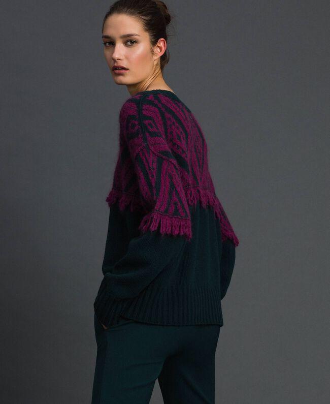 Maxi pull jacquard avec motif ethnique Jacquard Ethnique Vert Foncé / Rouge Betterave Femme 192TP3042-03