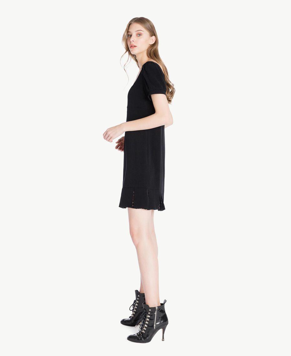 Kleid mit Tupfen Schwarz Frau PS82ZA-02