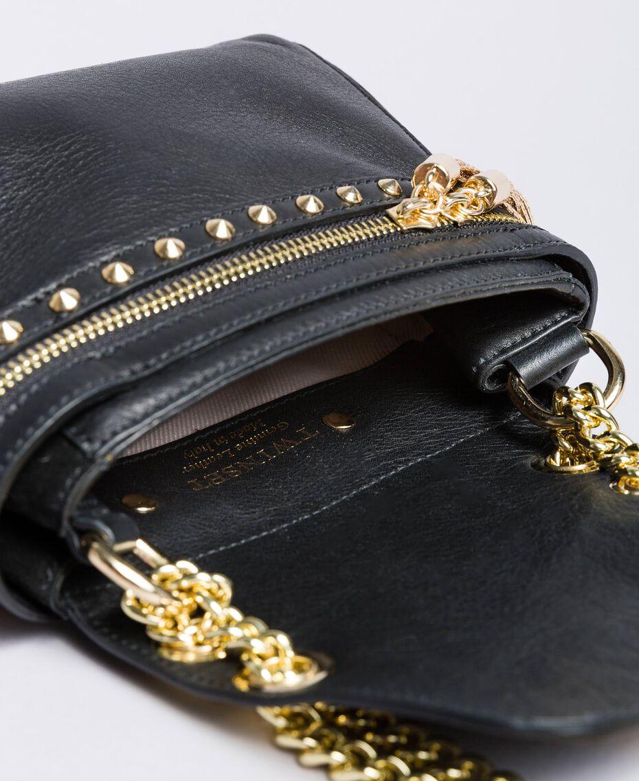 Petit sac Cécile Deux en cuir et cuir velours Noir Femme OA8TC2-05