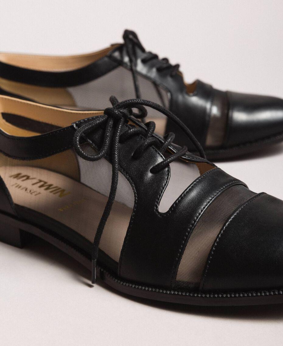 Туфли на шнурках из искусственной кожи и сетки Черный женщина 191MCP094-03