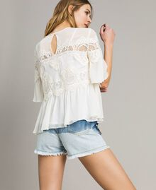 Georgette blouse with lace White Snow Woman 191TT2101-03