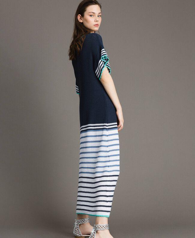 Robe longue ajourée à rayures Multicolore Rayures Bleu Nuit Femme 191MT3082-01