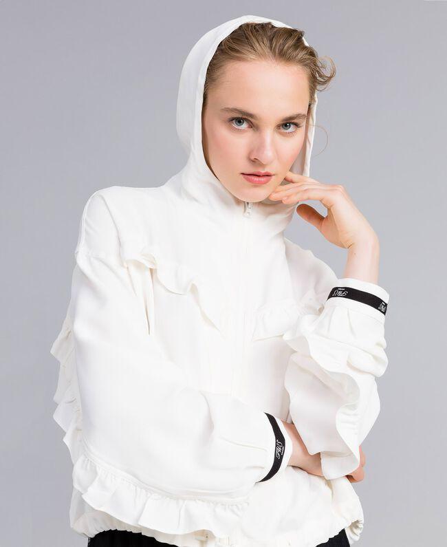 Jacke aus Georgette mit Rüschen Weiß Schnee Frau PA82HA-04