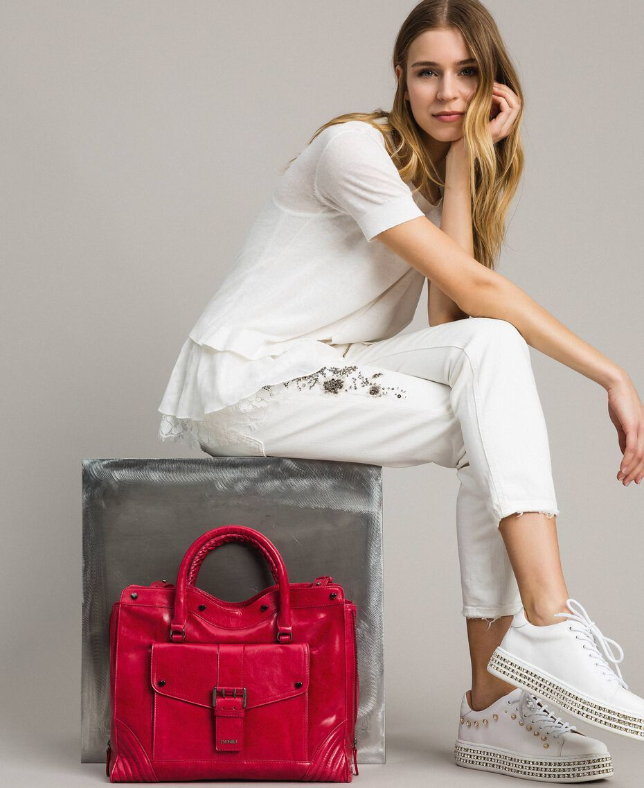 """Rebel leather shopping bag """"Ruby"""" Red Woman 191TA7235-0T"""