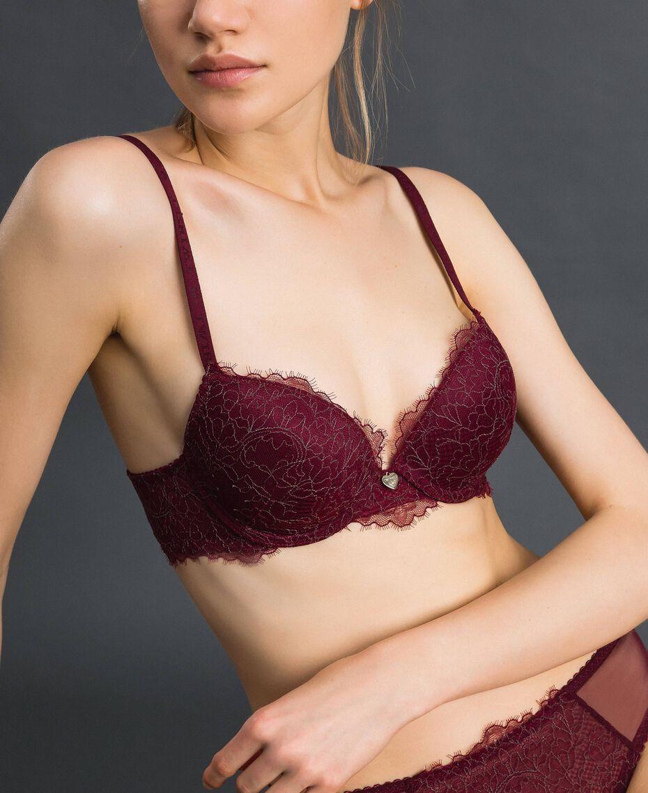 Soutien-gorge push-up en dentelle bicolore Rouge Violet / Gris Plomb Femme 192LI6444-01