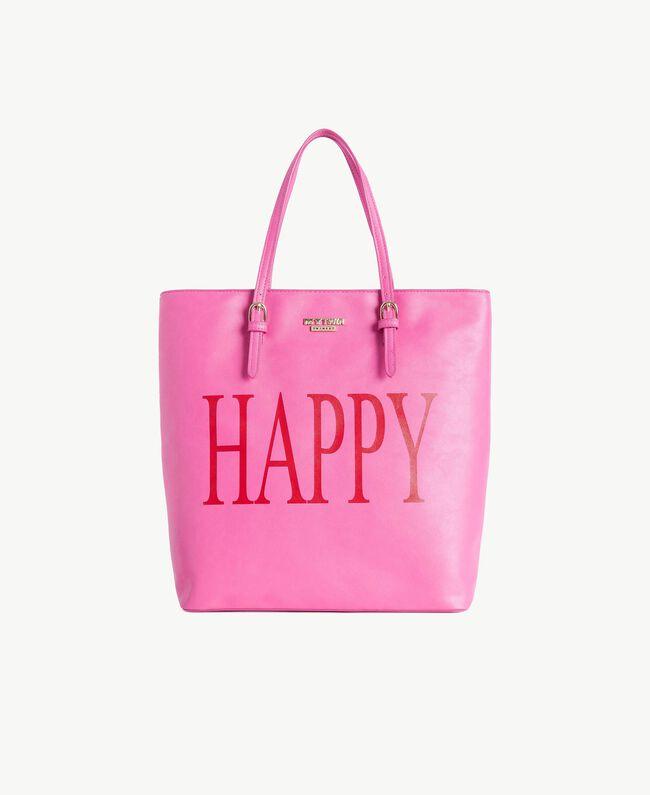 TWINSET Sac similicuir Imprimé «Happy» Soie Fuchsia Femme RS8TF2-01