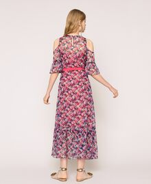 Floral chiffon full-length gown Violet Print Woman 201TP2544-04