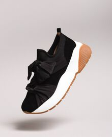 Giant bow textile trainers Black Woman 191TCP154-01