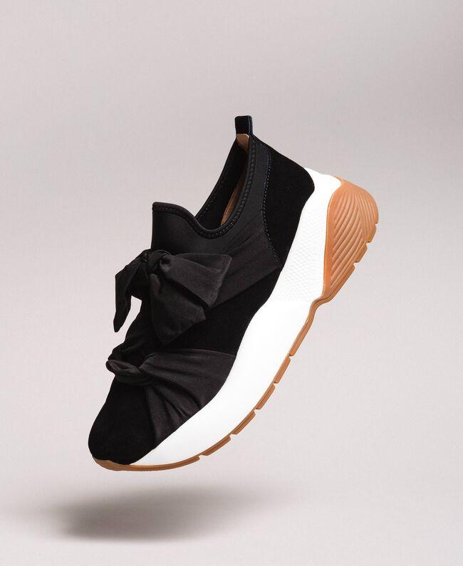 Sneakers in tessuto con maxi fiocco Nero Donna 191TCP154-01