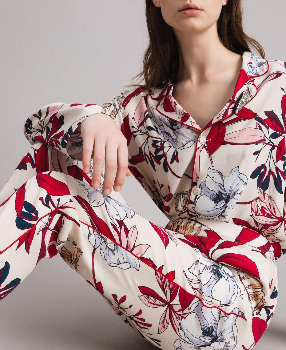 Pantaloni in crêpe con stampa a fiori Stampa Esotica Ecrù Donna 191ST2231-05