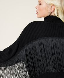 Maglia dolcevita in misto lana con frange Nero Donna 212TP3290-03