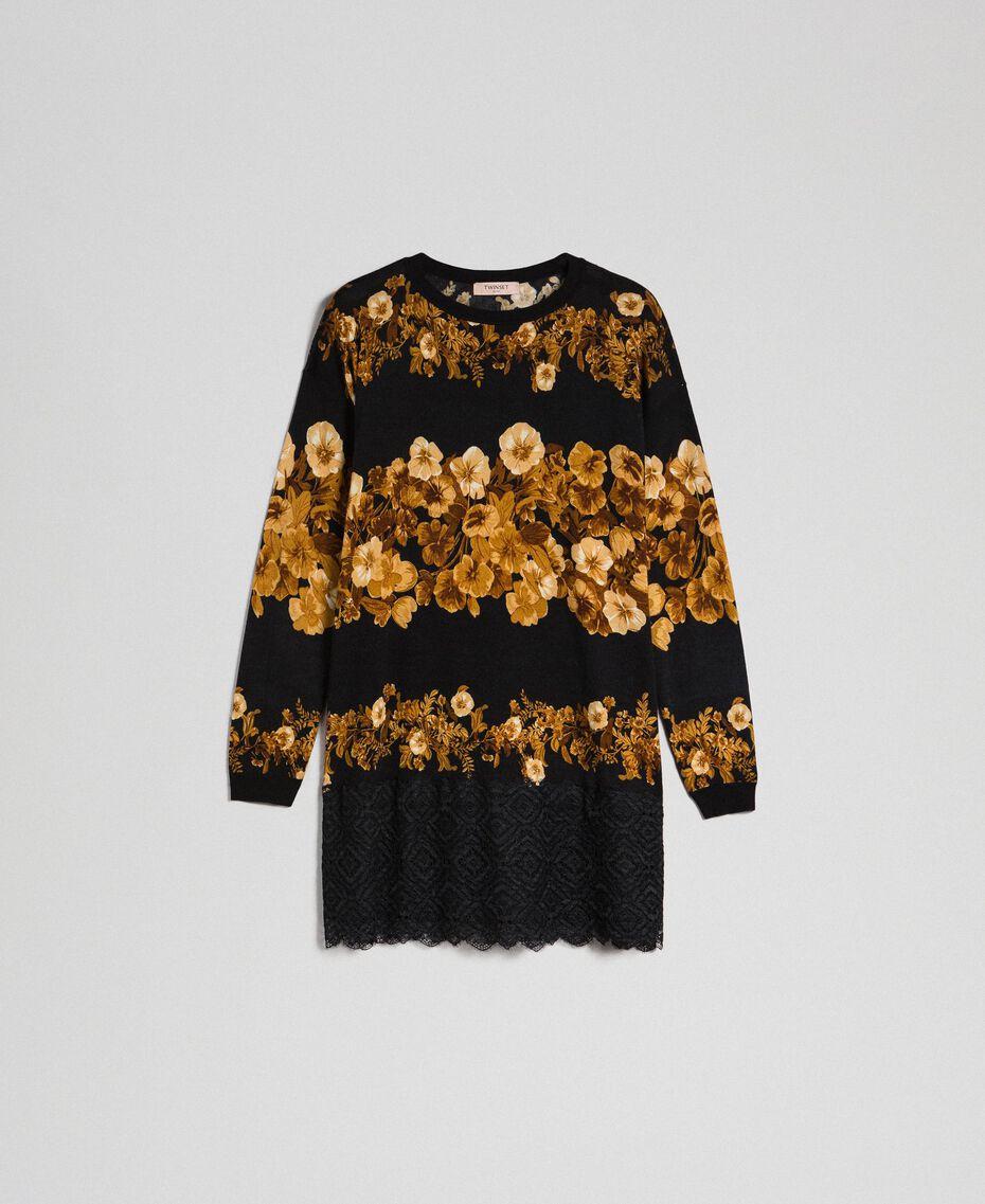 Maxi maglia in lana stampata con pizzo Stampa Mix Righe Fiore Barocco Nero Donna 192TT3342-0S