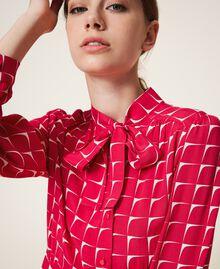 "Crêpe de Chine shirt dress with bow ""Cerise"" Fuchsia /""Dew"" White Optical Print Woman 202ST2502-05"