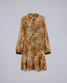 "Kleid aus Seidenchiffon mit Print Print ""Tiger"" Frau TA8253-0S"