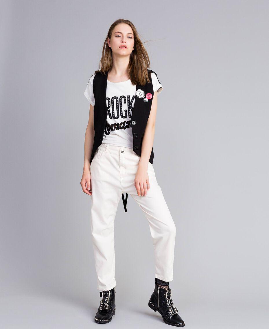 Pantalon girlfriend en gabardine stretch Nacre Femme JA82W4-0T