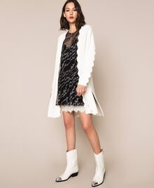 Maxicardigan mit Wellenrändern Weiß Schnee Frau 201TP3020-02