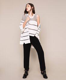 Maxi cardigan avec rayures contrastées Rayé Blanc Antique / Noir Femme 201TT3130-0T
