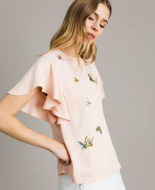 "Блуза из атласа с вышивкой бабочками ""Rose Sand"" Розовый женщина 191TT2115-02"