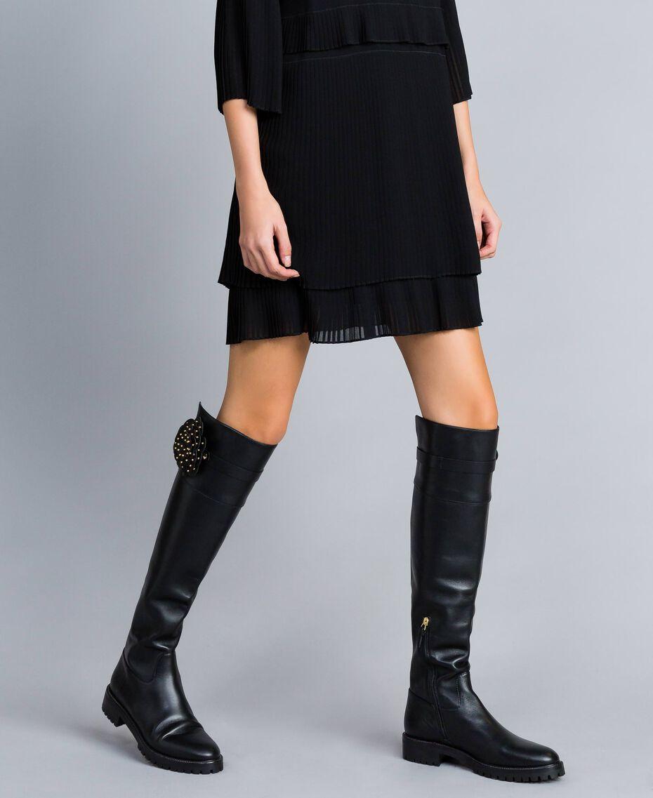 Bottes cuissardes en cuir avec fleur Noir Femme CA8PNC-0S