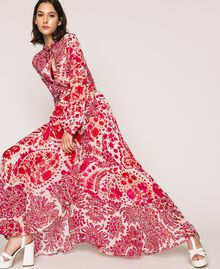 "Paisley print georgette skirt ""Lava"" Red Cashmere Print/ ""Blossom"" Pink Woman 201TP2535-0T"