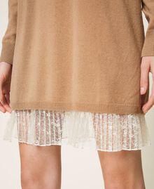 Vestido de lana mixta con plisados Bicolor Beige «Duna» / Blanco Nata Mujer 202MP3091-05