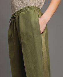 "Pantalon de jogging en lin Vert ""Olive"" Femme 191TT230B-04"