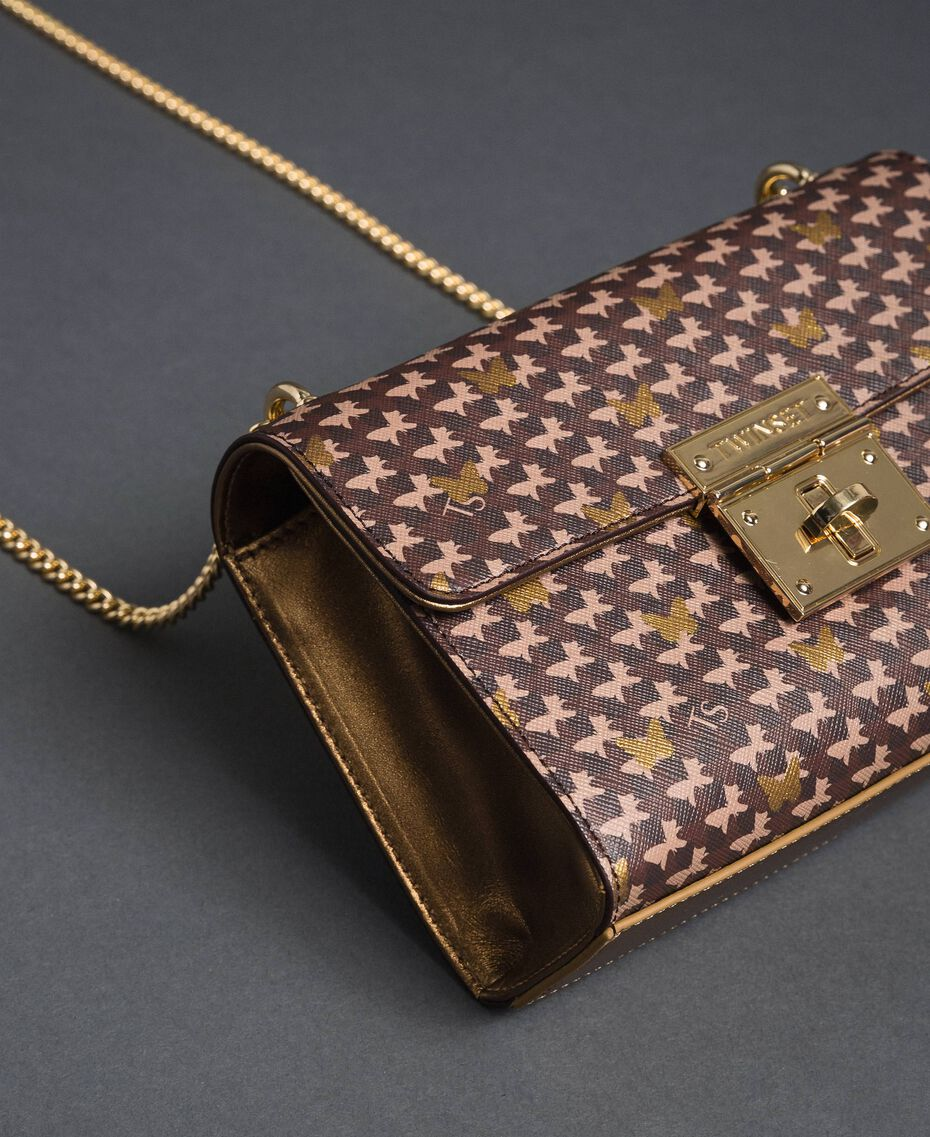 Butterfly print small shoulder bag Dark Gold Butterfly Print Woman 192TO801M-01