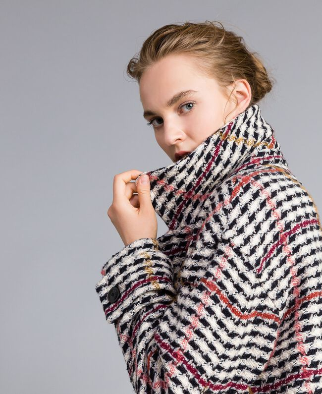 Oversized houndstooth coat Large Multicolour Check Jacquard Woman PA826H-01