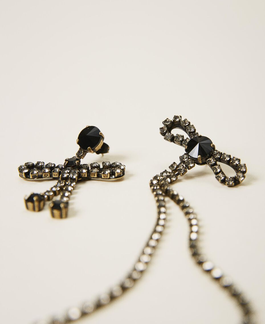 Asymmetric earrings with bows Black Diamond Grey Woman 202TA4302-01