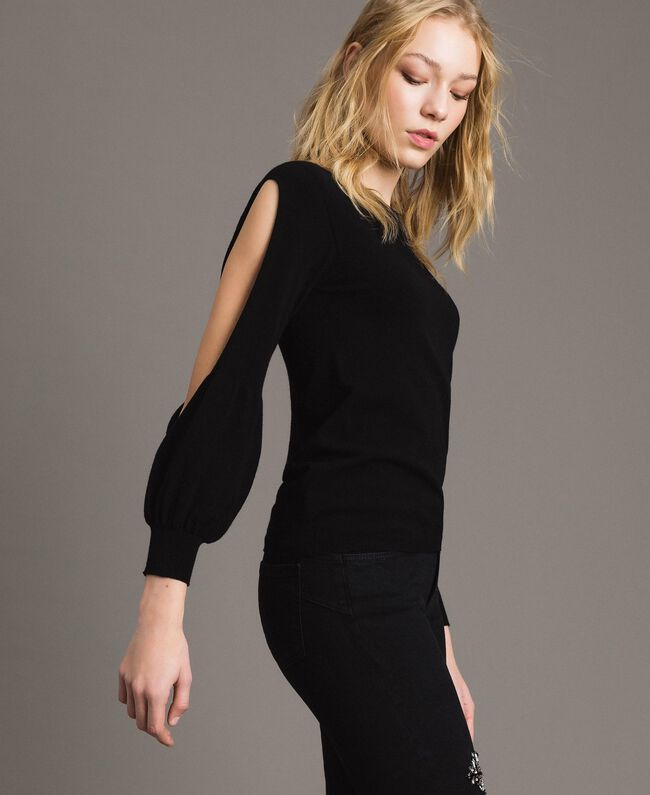 Stretch top with cutouts on sleeves Black Woman 191TP3294-03