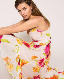 Vestido asimétrico de georgette de flores Estampado Hibiscus Nieve Mujer 201TT2493-05