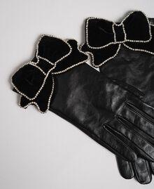 Guanti in pelle con fiocco in velluto e pietre Nero Donna 192TA4343-01