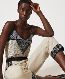 Pantalon en lin mélangé avec broderies Bicolore Beige «Dune» / Noir Brodé Femme 211TT2614-06