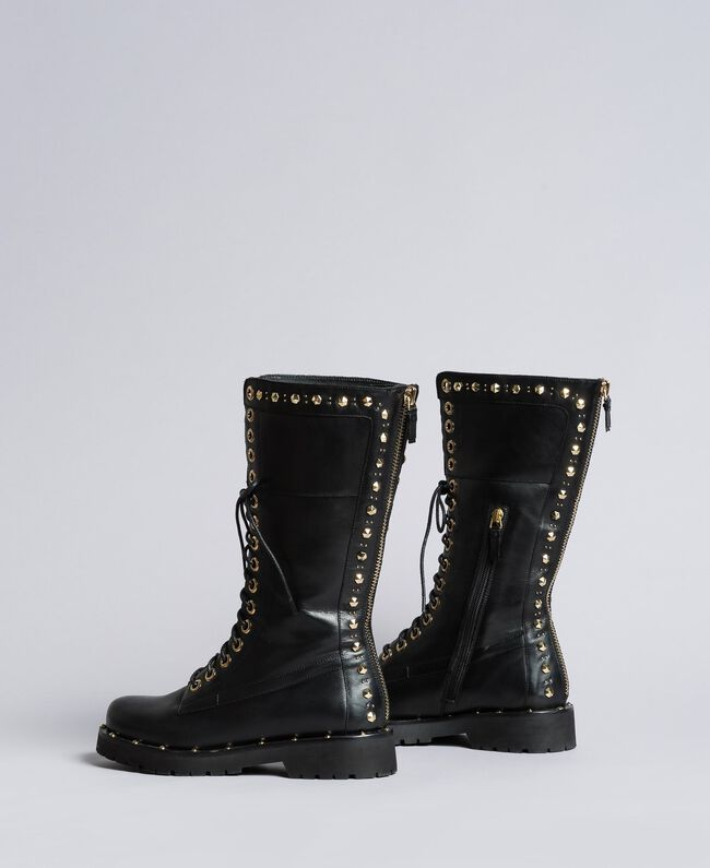 Leather combat boots with rivets and studs Black Woman CA8PLY-03
