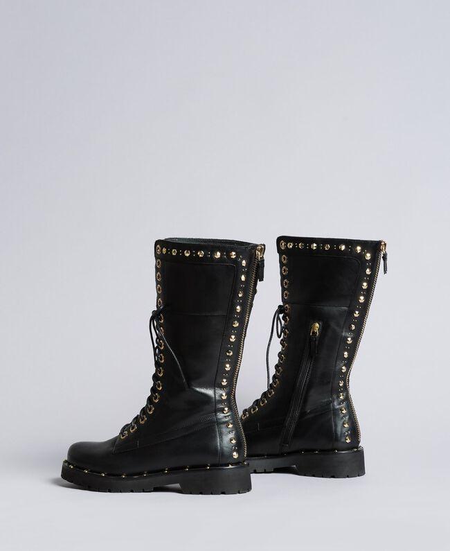 Boots en cuir avec rivets et clous Noir Femme CA8PLY-03