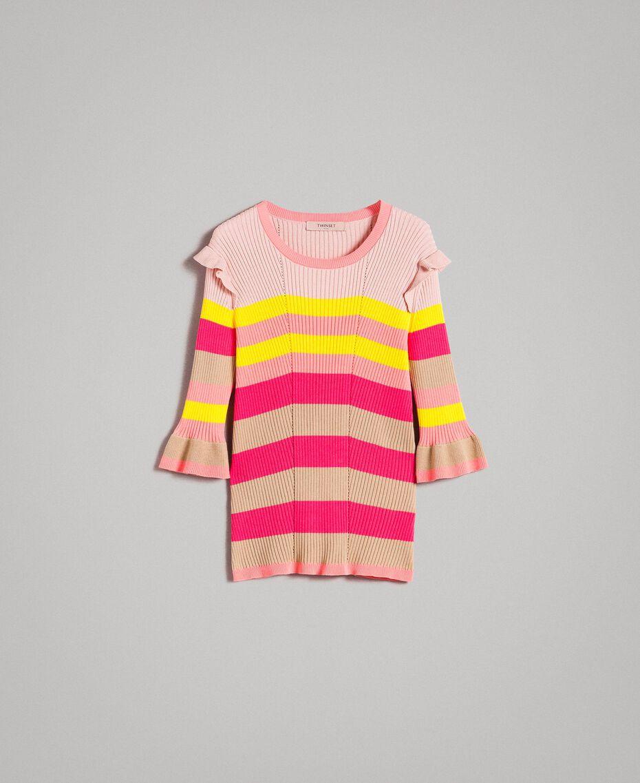 Gestreifter Pullover mit Rüschen Multicolour Regenbogen Frau 191TP3270-0S