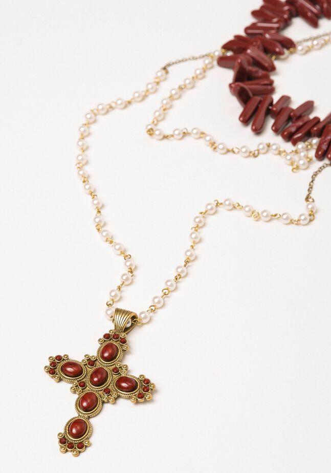 Mehrreihige Rosenkranzhalskette mit Perlen