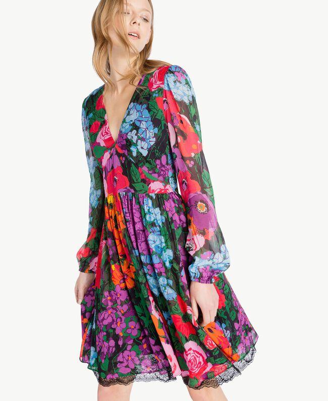 "Kleid mit Print ""Sixty Flower""-Print Frau TS824D-04"