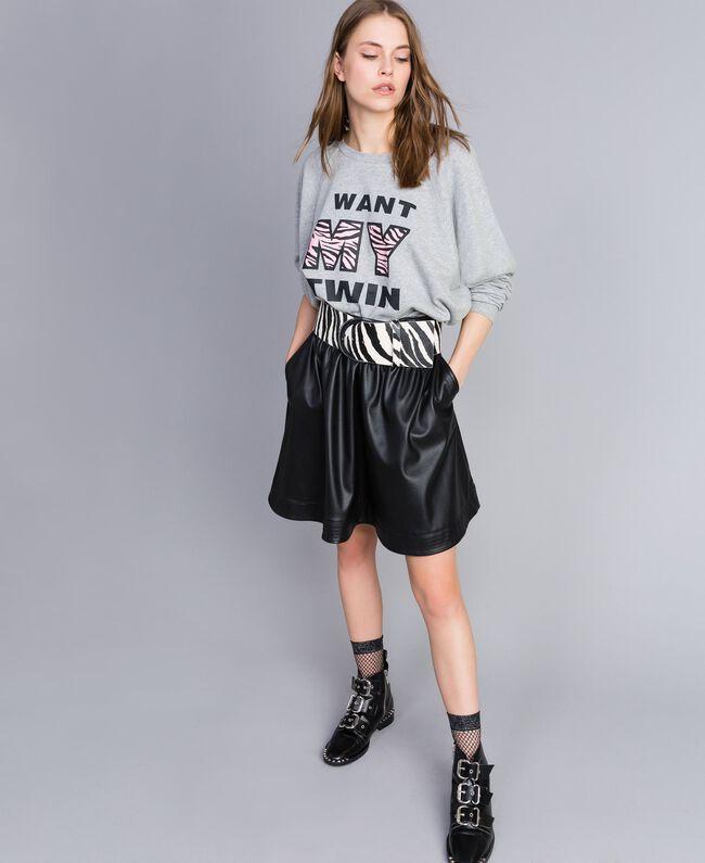Faux leather full skirt Black Woman JA82DC-0T